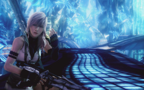 video games, Final Fantasy XIII, long hair, Claire Farron, weapon