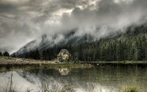 house, lake, forest, landscape, trees, mist
