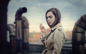 girl, smoking, model