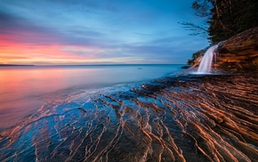 nature, blue, sunset, lake, landscape, beach