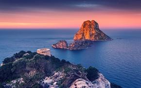 rock, sunrise, coast, trees, landscape, nature