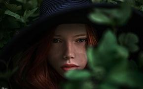 girl, portrait, leaves, redhead, Georgiy Chernyadyev, face