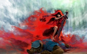 fantasy art, wolf, Red Hood, blood, forest clearing, blades