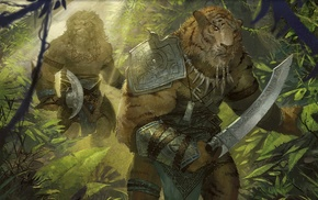 Ajani Goldmane, warrior, Magic The Gathering, tiger, fantasy art