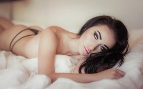 model, hazel eyes, no bra, black panties, strings, in bed
