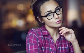girl, girl with glasses, face, portrait, Dani Diamond
