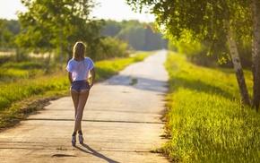 blonde, path, girl, heels, jean shorts, grass