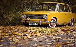 vintage, trees, nature, fall, vehicle, Lada 2101