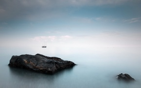 sea, landscape, sailing ship, rock, stones, horizon