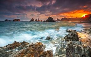 beach, clouds, rock, sea, landscape, nature