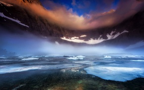 morning, clouds, ice, mountain, frost, mist