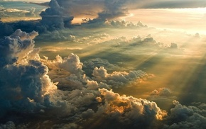 landscape, Divinity, clouds, sun rays, mist, sunset