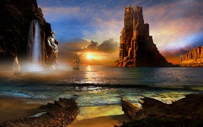 statue, sunset, sailboats, clouds, landscape, nature