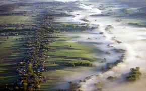 aerial view, villages, mist, landscape, field, morning
