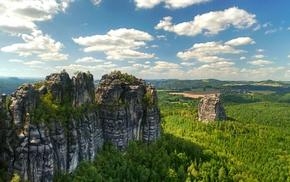 rock, nature, cliff, landscape, forest, clouds