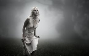 nipples through clothing, desaturated, white dress, model, girl, blonde