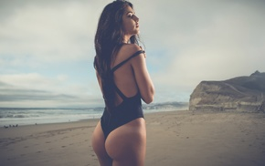 closed eyes, beach, ass, brunette, swimwear, long hair
