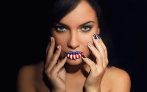 face, blue eyes, portrait, lipstick, girl