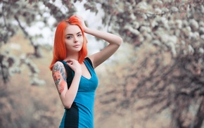 redhead, fox, tattoo, depth of field, looking at viewer, dress