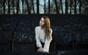 girl outdoors, model, white clothing, sitting, blonde, girl
