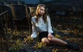 model, sitting, girl