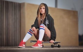 tattoo, Keshia Hamlani, blonde, sitting, skateboard, hoods