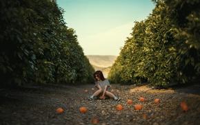 mangos, orange fruit, sitting, girl, redhead