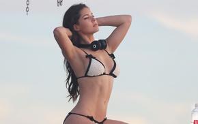 brunette, bikini, Playboy, headphones, girl, Amanda Cerny