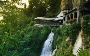 nature, cliff, Switzerland, architecture, arch, waterfall