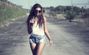 girl with glasses, jean shorts, girl, road, Coca, Cola