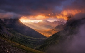 sunrise, clouds, mountain, mist, valley, Glacier National Park