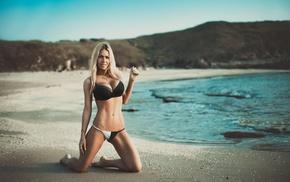 sea, beach, girl, bikini, blonde, tattoo