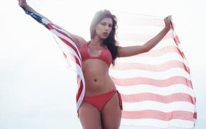 flag, girl, bikini