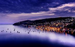 ship, clouds, cityscape, lights, night, sea
