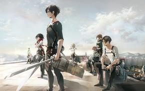 Armin Arlert, weapon, Shingeki no Kyojin, Eren Jeager, Levi Ackerman, anime