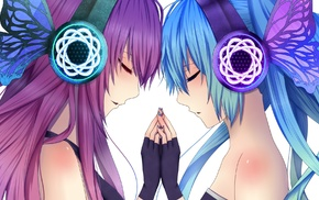 Vocaloid, Megurine Luka, twintails, Hatsune Miku, long hair, headphones