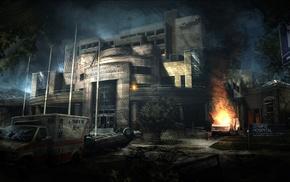 hospital, fire, apocalyptic, concept art, abandoned, Abandoned city