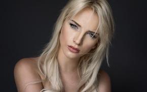 Katharina La, girl, model, blue eyes, face, blonde