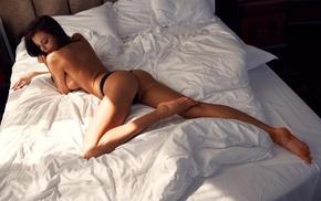 girl, model, black panties, no bra, in bed, ass