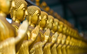 Buddha, macro, blurred, gold, photography, depth of field