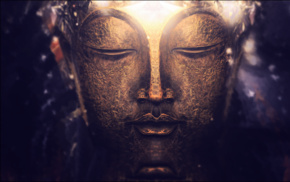 depth of field, photography, macro, bokeh, gold, Buddha