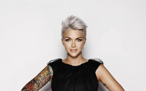 tattoos, Ruby Rose actress, simple background