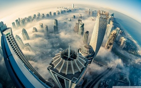 clouds, Dubai, heights, sky lanterns, photography, city