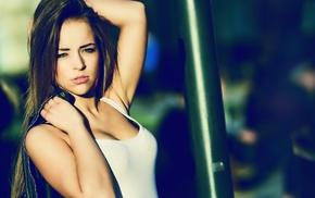 model, tank top, brunette, hands on head, armpits, green eyes
