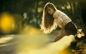 blouses, nature, sunlight, bare shoulders, closed eyes, girl