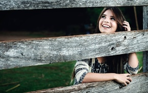 sweater, teeth, girl outdoors, fence, long hair, wood