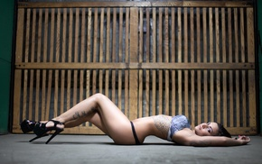 armpits, high heels, lingerie, ass, tattoo, girl