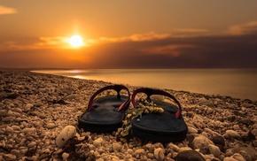 sunrise, rock, beach, flip flops