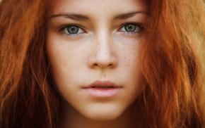 redhead, girl, freckles, face, hazel eyes