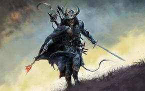 artwork, armor, sword, fantasy art, warrior